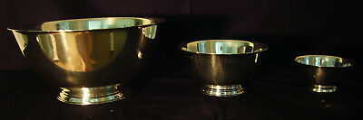 Vintage Paul Revere Reproduction Bowls Silverplate Set Of Three