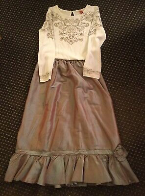 White Blouse And Thai Silk Skirt ,Outfit