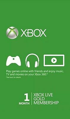 Xbox Live Gold 1 Month Membership Code Xbox One Geunine (5x 7 days codes)