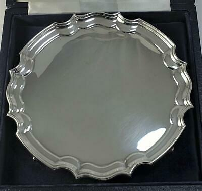 Cased Vintage hallmarked Sterling Silver Waiter/Card Tray (15.5cm) – 1986 (180g)