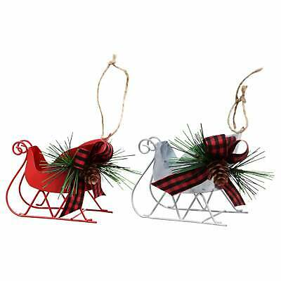 """Sleigh Christmas Ornament with Pine Cones Red Silver 3""""X4.25"""" w"""