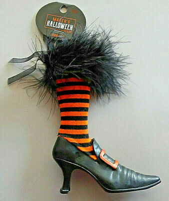 Halloween Ornament Witch's Shoe Orange Black Stripe Feather Top Wicked Witch