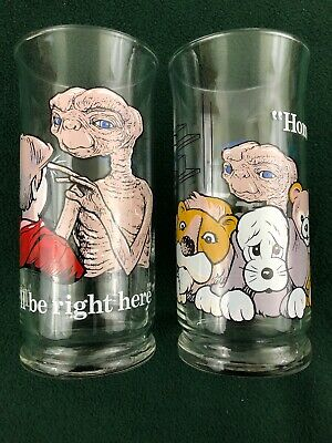 ET Glasses Set 2 Pizza Hut Collectible Drinking Cup Tumblers Extra Terrestrial