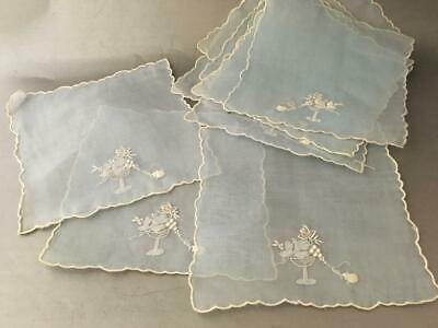 VINTAGE EMBROIDERY GRAPES 100% SHEER LINEN BLUE COCKTAIL NAPKIN SET of 10