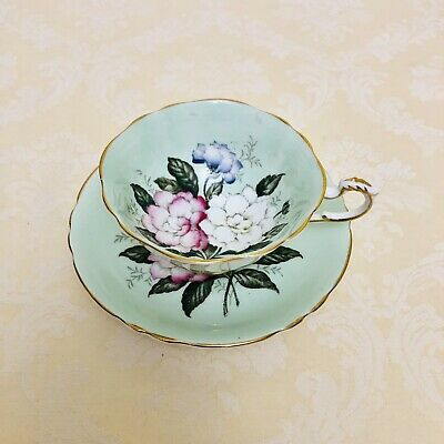 Paragon Wide Mouth Mint Green Gardenia Flowers Teacup And Saucer