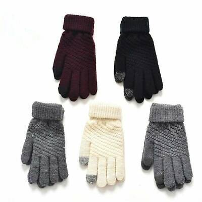 Solid Color Women Men Wool Knitted Gloves Full Finger Warm Mittens Touch Screen