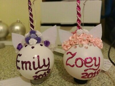 Personalised Christmas Baubles Ball Unicorn 80mm