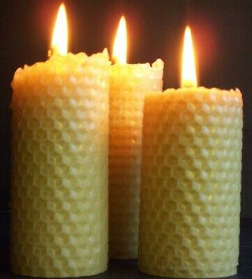 Kit for making natural rolled beeswax candles 20 sheets, wick & instructions