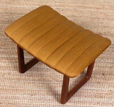 Vintage Danish Teak Stool Upholstered Seat for Dressing Table