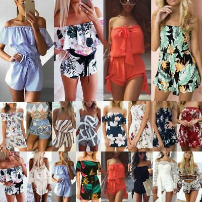 Women Boho Off Shoulder Bandeau Jumpsuit Mini Playsuit Shorts Dress Summer Beach