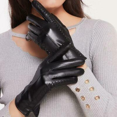 Womens Winter Warm Liner Full Finger Gloves Touch Screen Faux Leather Mittens