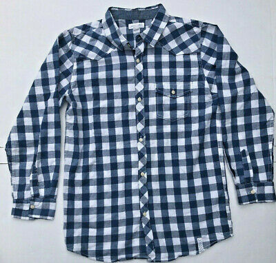 PUMPKIN PATCH BOYS LONG SLEEVED BLUE and WHITE CHECKERED SHIRT