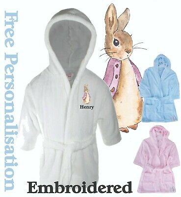 Personalised Flopsy Bunny Baby Childrens Bath Robe Dressing Gown, Peter Rabbit