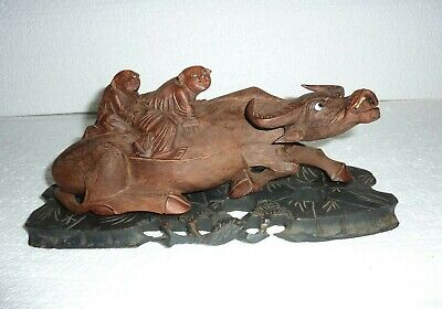 VTG Asian Hand Carved Water Buffalo & Riders Wood Figure Statue Glass Eyes S-19