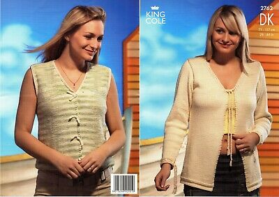 "32-46/"" 3691 King Cole Knitting Pattern: Ladies Sweater /& Cardigan DK"