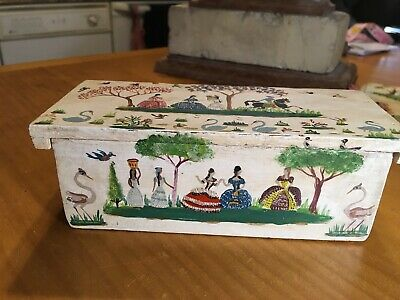 Antique Figural Hand Painted Wooden Jewelry Box Artist Signed