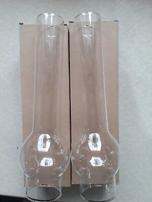 """X2  Round Bulge OIL LAMP CHIMNEY Glass 10"""" 1/4 Height x 1""""75 - 44 mm Base NEW"""