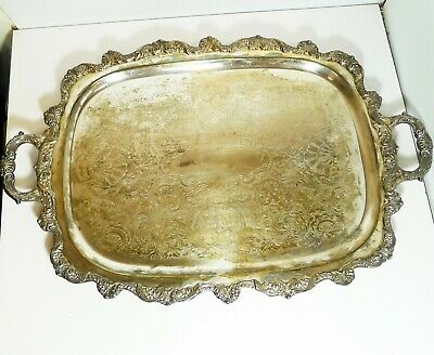 Vintage Poole EPCA Old English Large Rectangular Silverplate Serving Tray #5041
