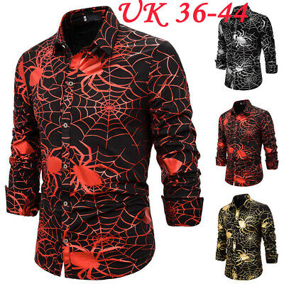 Men Halloween Spider Printed Long Sleeve T-Shirt Tops Slim Fancy Dress Costumes