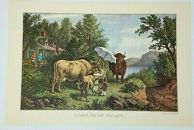 Currier & Ives Taste for Fine Arts Painting Anthropomorphic Cattle Reprint