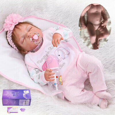 "22"" Full Body Vinyl Silicone Reborn Dolls Lifelike Baby Girl Newborn Doll Gifts"