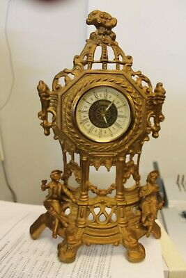 Vintage Ornate West Germany Mantle / Shelf Clock! Brass Victorian Couple 14.5""