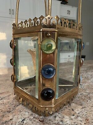 Antique Gas Gasolier Victorian Brass Jeweled Harp Hall Chandelier Lantern Lamp
