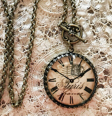VINTAGE PARIS CLOCK FACE Round 35mm NECKLACE Filigree SHABBY WATCH DIAL