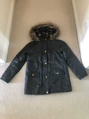 Girls Khaki green Quilted parka coat New Look 915 Age 12-13 Excellent Condition