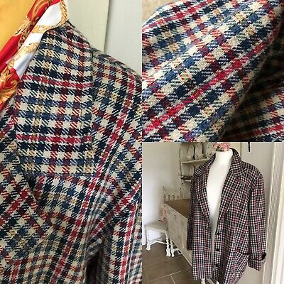 Ladies NIGHTINGALES Check Tweed  Tartan Wool Blend Blazer Jacket Coat Size 18