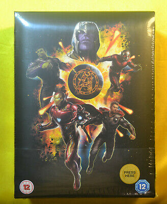 Avengers End Game 4K Steelbook Bluray Exclusive UK Collectors Edition New