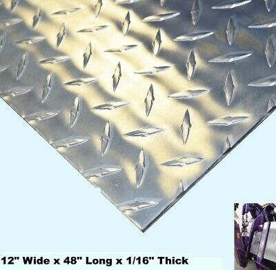 """Aluminum Polished Diamond Plate  12"""" Wide x 48"""" Long x 1/16"""" Thick  Alloy 3003"""