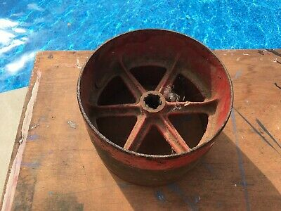 Antique Cast Iron Industrial Gear for Leather Drive Belt Pulley in Old Red Paint