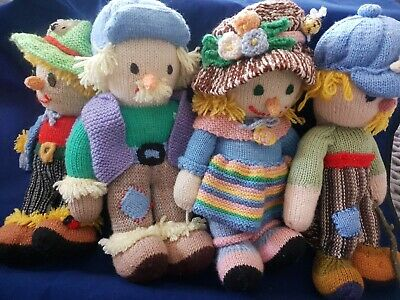 Hand Knitted Vintage Collectable Farm Dolls 4 Total