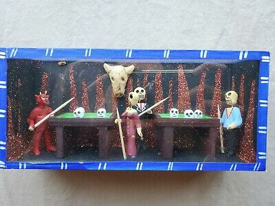 Diorama Folk Art Skeletons Devil  Pool Billiard Hall Bar Dia Muertos Shadow Box
