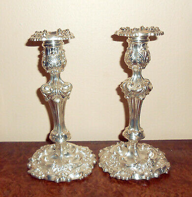 Georgian Early 19th Century 1816 English Rococco Sterling Silver Candlesticks