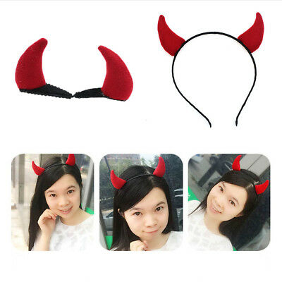 Red Fluffy PVC Devil Horns Hairband Halloween Hen Night Fancy Dress Accesssory