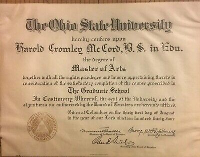 Vintage 'The Ohio State University Diploma-Master Of Arts Degree. From 1934