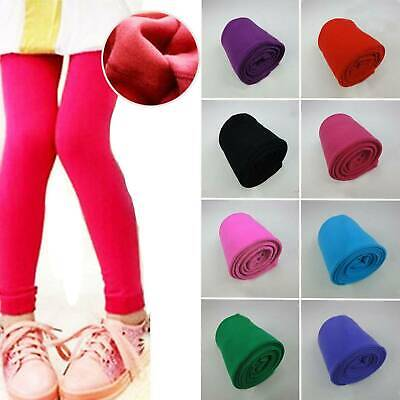 Children Girls Plain Cotton Thick Full Length Leggings Party Pants Soft 2-7 Year