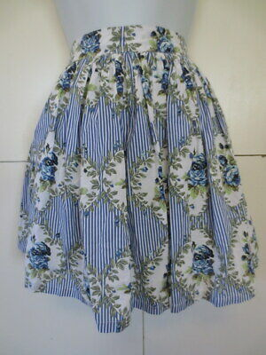 RETRO VINTAGE 1950s STYLE SKIRT REVIVAL 10 BLUE GREEN WHITE COTTON WITH POCKETS