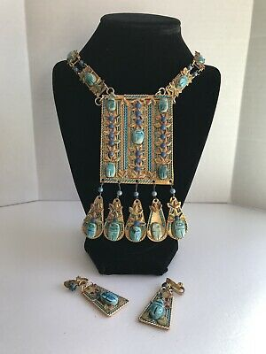 Vintage Stunning Hand Made Scarab Egyptian Revival Necklace and Earring Set