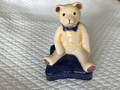 Teddy Bear Ornament  Crackled Glaze Perfect Condition New Born Gift