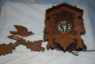 Vintage Regula Carved Black Forest Chalet Style Cuckoo Clock for Restoration