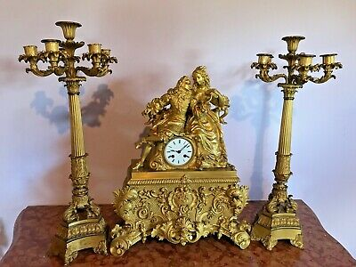 Unique Big Model Antique French Table/Mantle Clock + Candelabras - Free Shipping