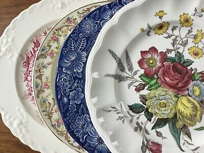 Mismatched China Luncheon or Salad Plates ~ Set of 4 Vintage ~ Colorful Florals