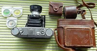 VINTAGE AGFA ISOLETTE III FOLDING CAMERA 75mm f3.5 SOLINAR + HOOD/FILTERS & CASE