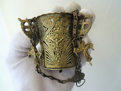 Ancient Antique Hanging bronze Orthodox Lamp Byzantine  with 3 small crosses VC1