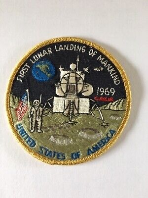 Nasa Apollo 11 Lem Yellow Border 7.5cm Patch Embroidered Sew or Iron on Badge