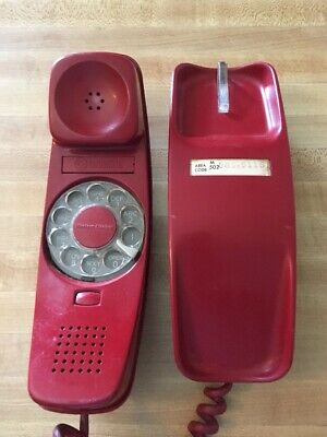 Vintage Red Trimline Western Electric Bell Rotary Phone Tested And Works