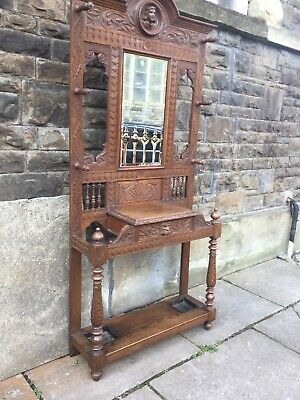 Heavily Carved Victorian  Oak Hat and Coat Hall Stand - Delivery Available